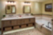 Bathroom, Bath, Tile, Mosaic, Vanity, tub, bath tub, lighting, light, sink, faucet, tub filler, artwork, mirror, accent