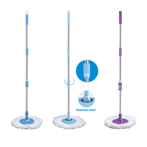 Ispin Mop Hand Pressure Pole +Microfibre Mop Refill