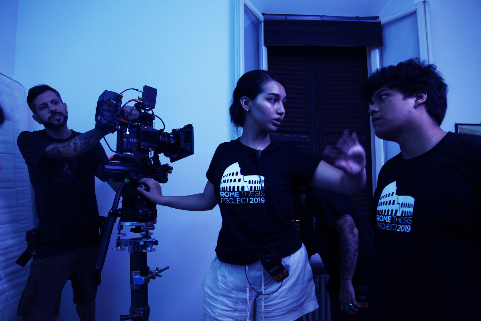 "GFS NY, ""The Manuscript"" director, Jourdain Pita (R) and director of photography, Ariana Marie Luque, discuss on set."
