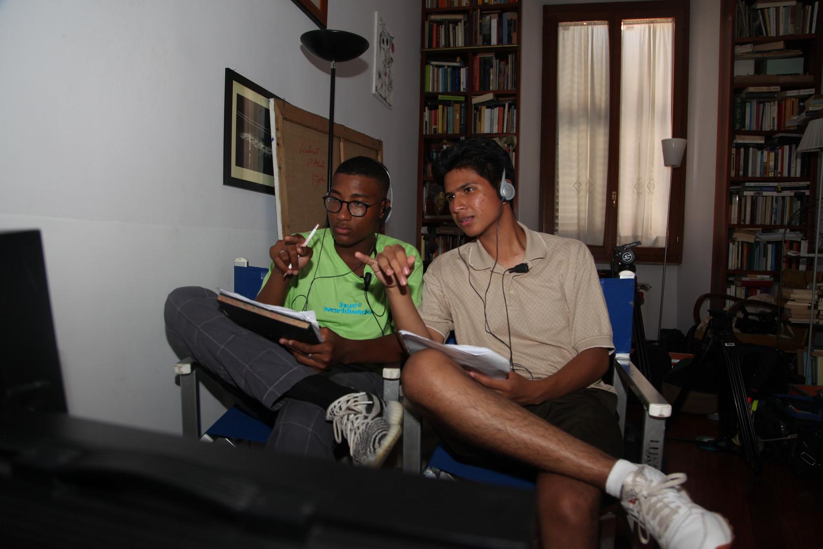 "GFS LA: ""Cults"" writer, Krshna Airaudi (L) and director, Alejandro Ayala (R) discuss on set."