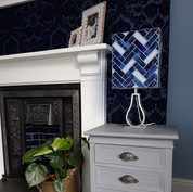 Herringbone stained glass lampshade in blue and white