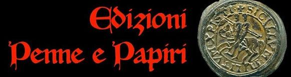 """logo della casa editrice """"Edizioni Penne e Papiri"""": scritta rossa su campo nero, con l'immagine del sigillo d"""