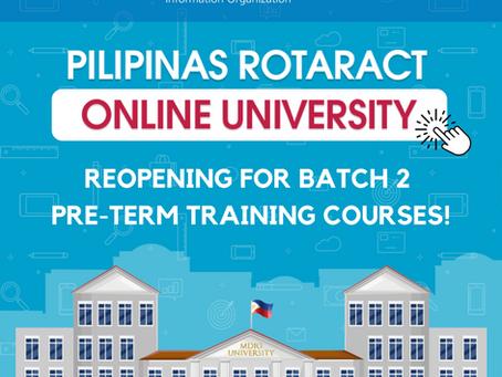 Pilipinas Rotaract Online University Reopening for Batch 2