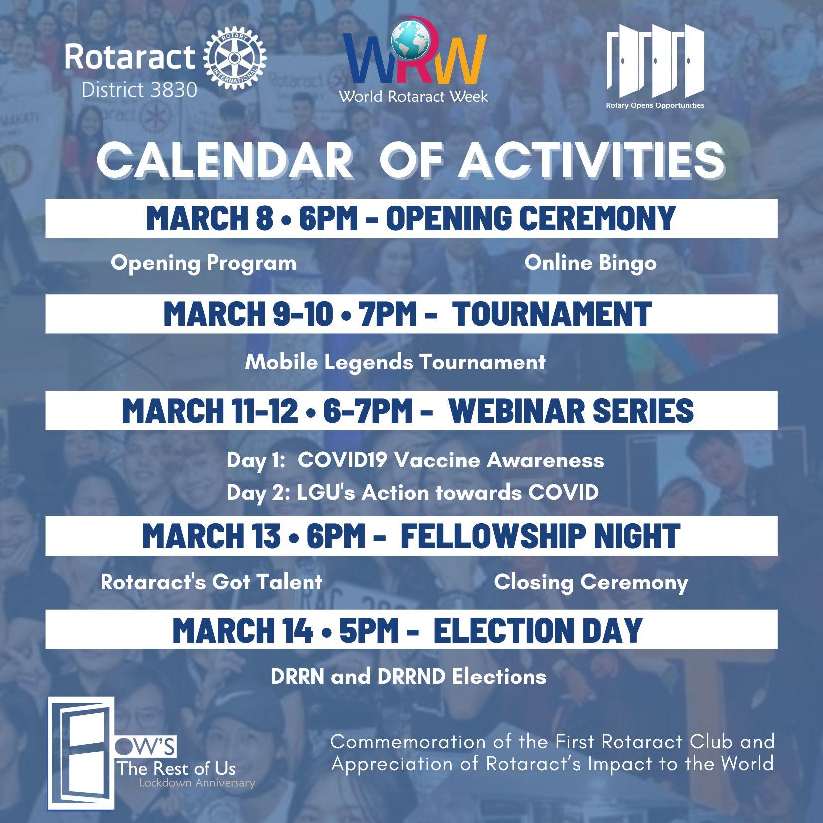 District 3830 World Rotaract Week Fellowship Activities