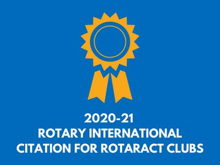 2020-21 Rotary International Citation for Rotaract Clubs