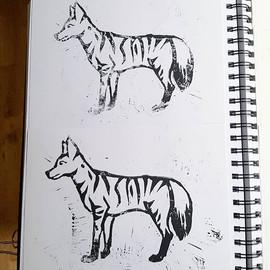 Aardwolf lino prints
