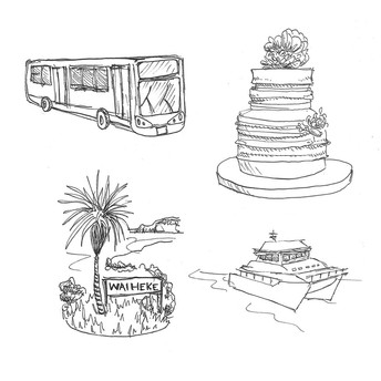 Ink sketches for wedding stationery