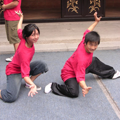 Posing with one of the Wong Fei Hung students