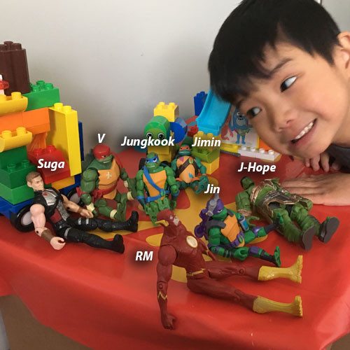Avengers and Ninja Turtles playing BTS