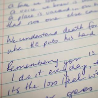 The poem in Mum's handwriting
