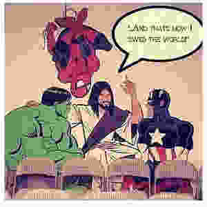 Jesus telling the Avengers how He saved the world.