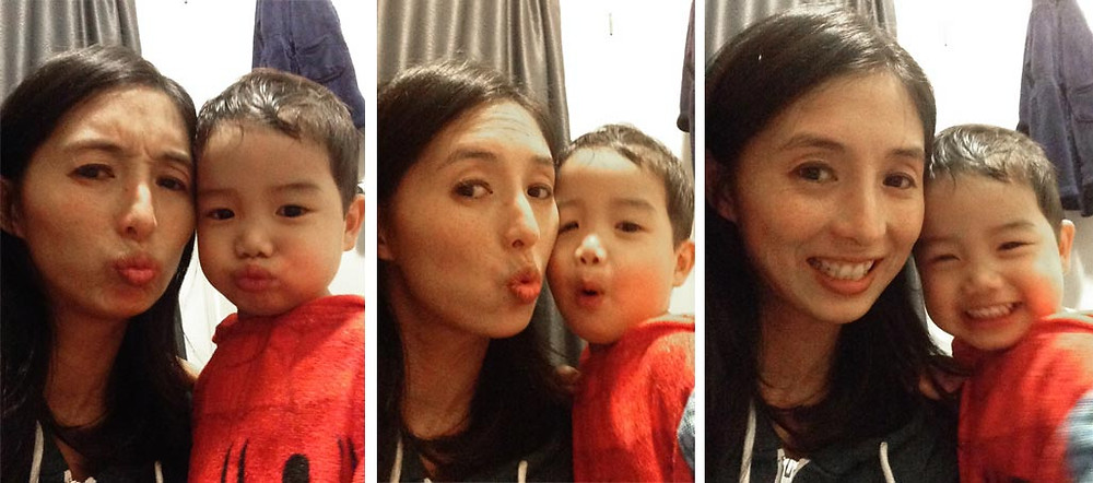 Me and my son making funny faces