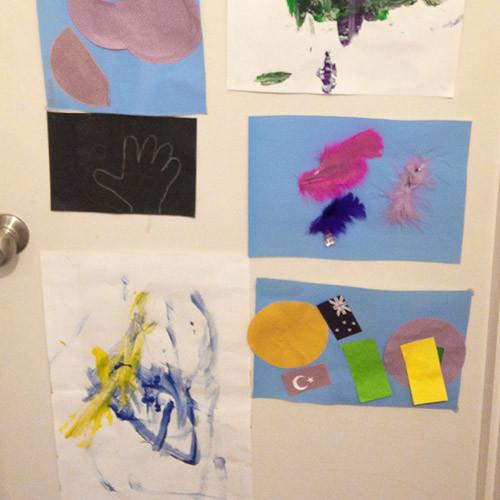 Artwork from Creche, hung on his bedroom door