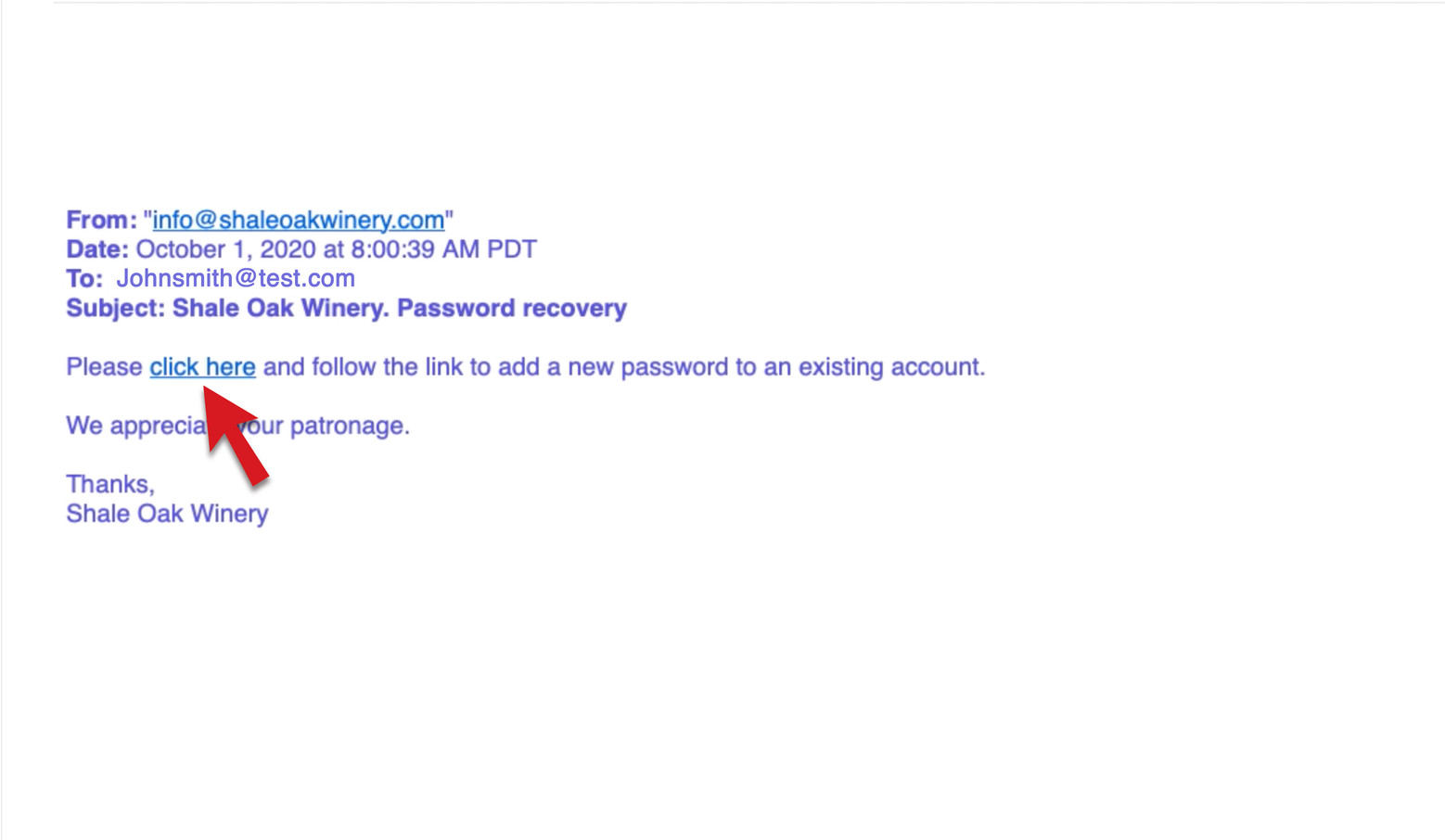 Click the link in the email to add or reset a password.