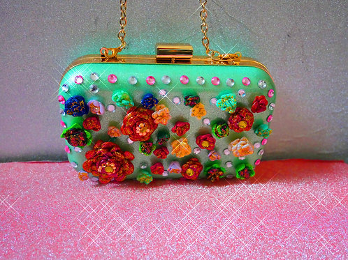 Mint Green Floral Handbag