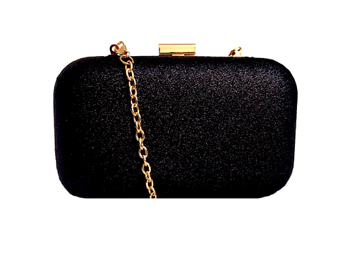 Glitter Chain Clutch Bag Black