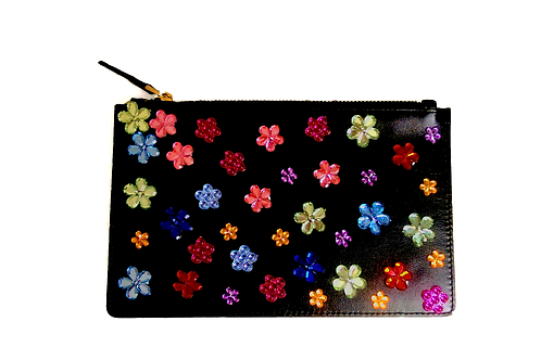 Rainbow Flowers Clutch Bag
