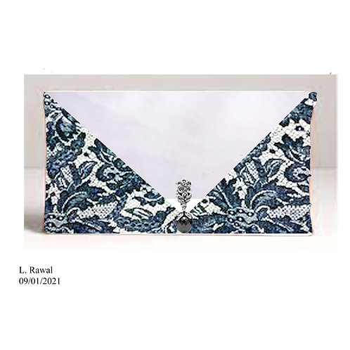 Blue Lace Envelope Handbag