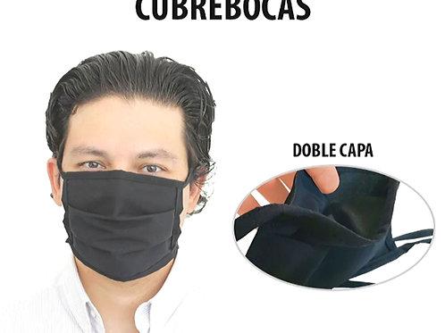 """Cubrebocas Lavable Textil """"Doble Capa"""" Con Pliegues"""