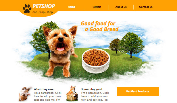 Pets & Animals website templates – Pet Supplies
