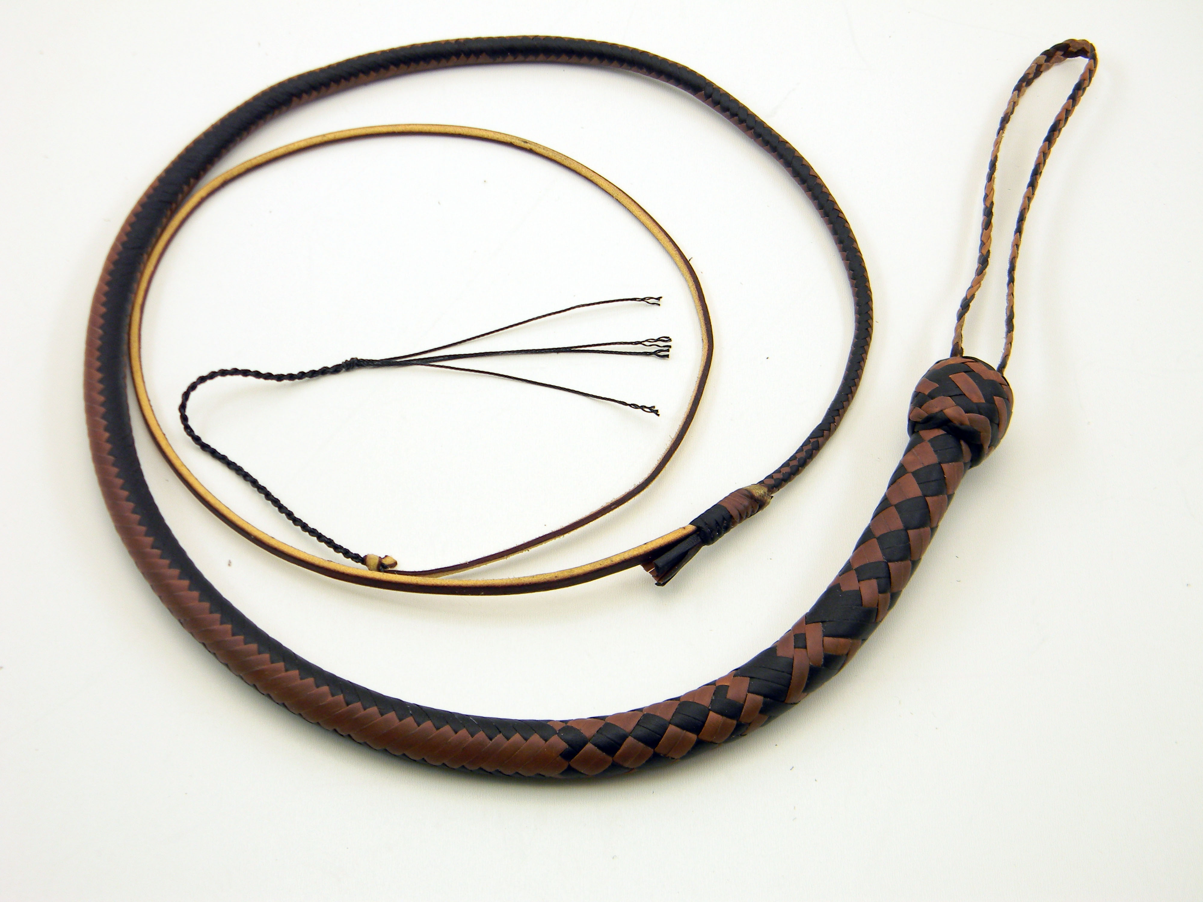 3ft Brandy and Natural 16 Plait Snake Whip
