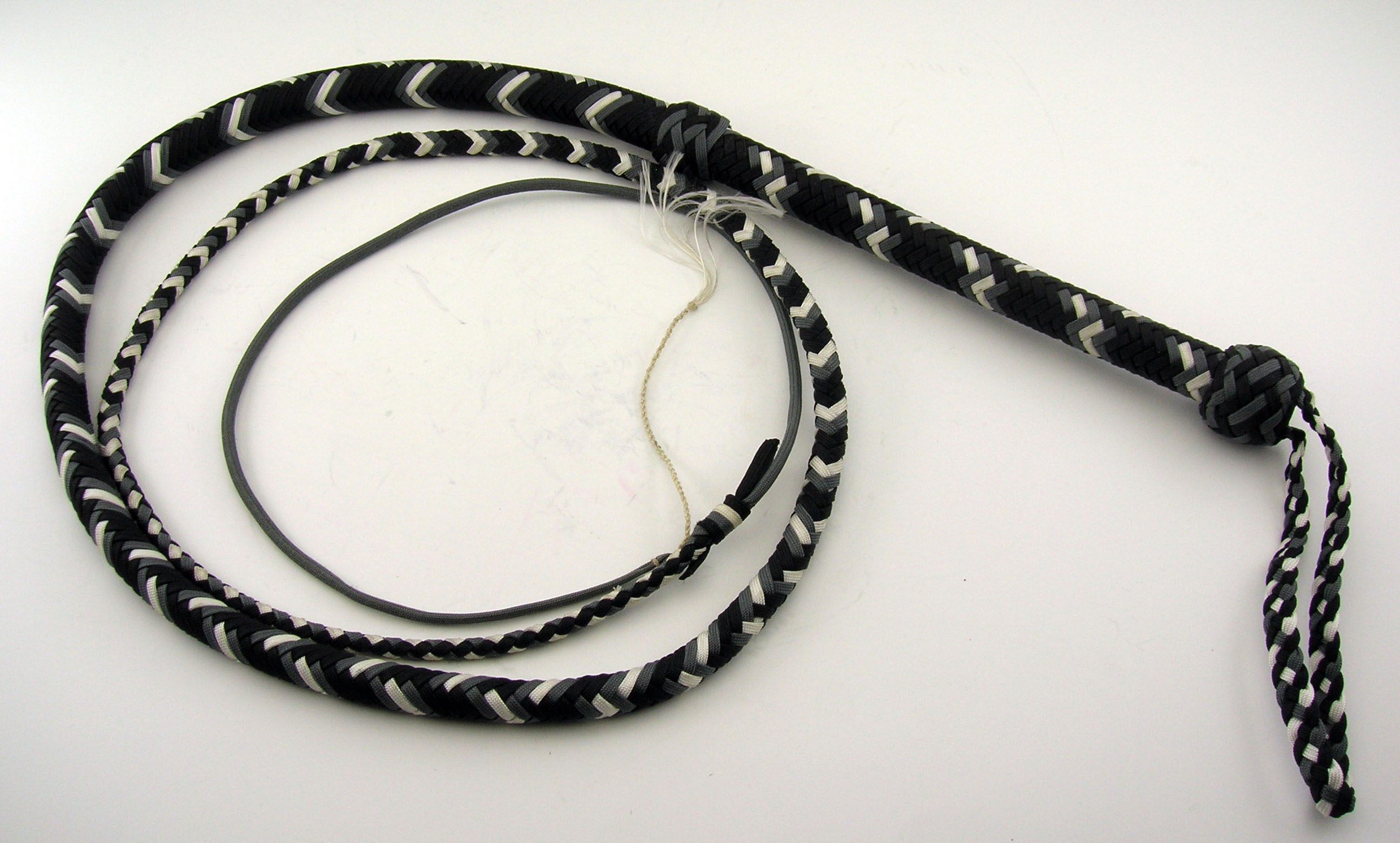 Black grey & White 6ft Nylon Bull Whip