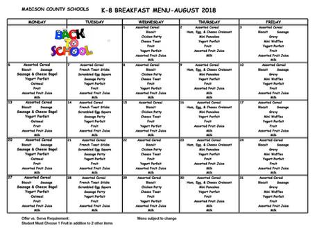August 2018 Breakfast Menu