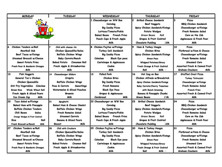 August 2018 Lunch Menu