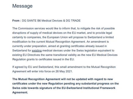 Acordo de reconhecimento mútuo entre União Europeia e Suíça