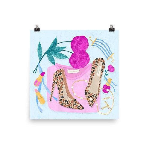 Leopard Print Heels Flatlay Poster