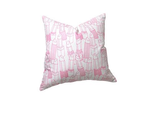 Pink Lipstick Outlines Linen Pillow Case