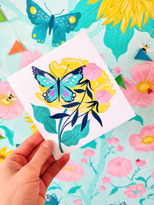 Butterfly & Peonies Sticker