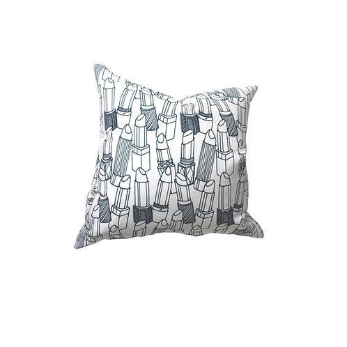 Navy Lipstick Outlines Linen Pillow Case