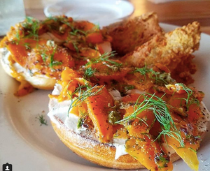 Carrot Lox: cured smoked carrot, house-made cashew cream cheese, capers, dill and cracked black pepper on a toasted bagel (there's a gluten free option, too!).