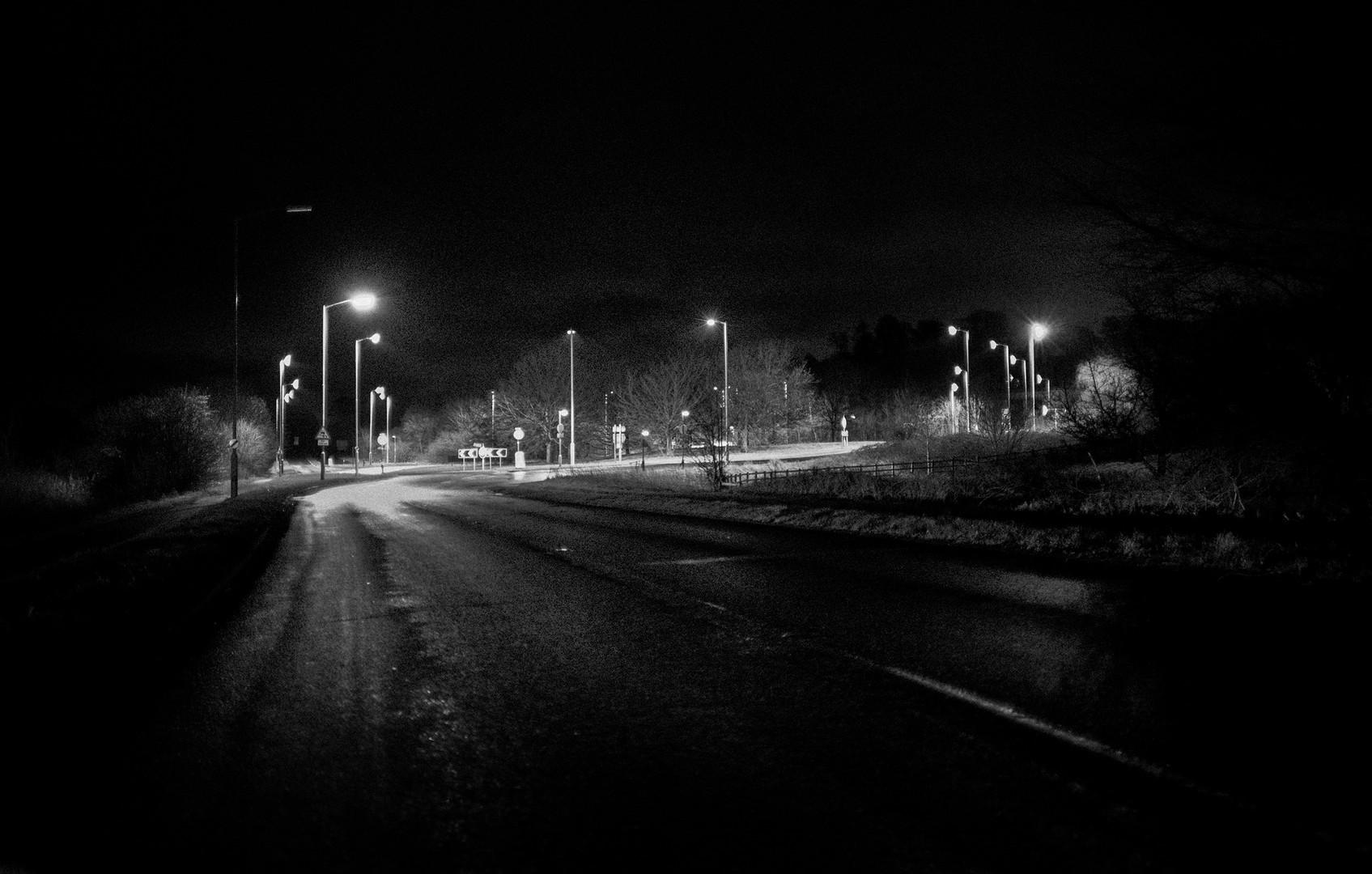 Lit roundabout