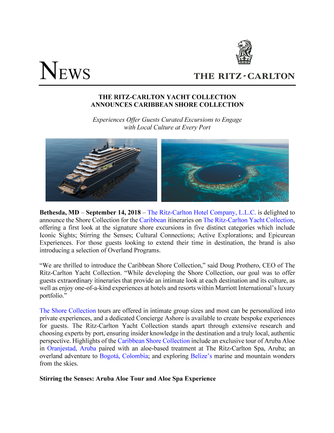 PRESS RELEASE                                                                   The Ritz-Carlton Yac