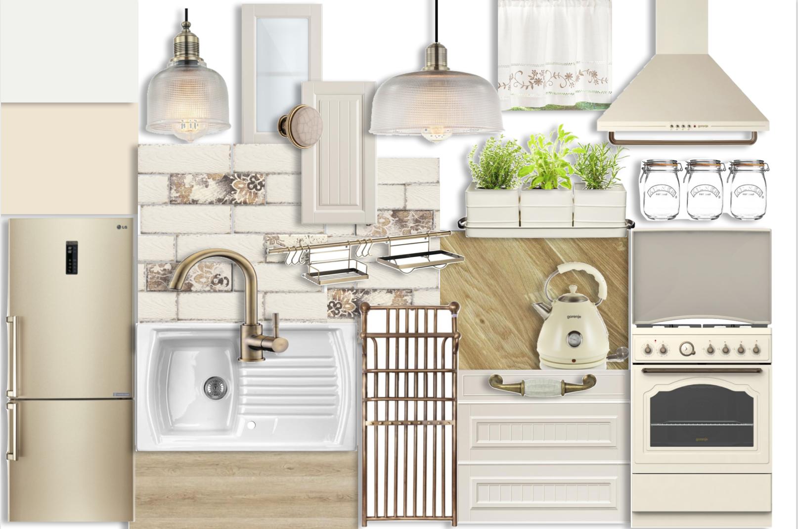 Klasyka i Modern Retro  Kremowe meble doskonale prezentują się przy złotych, beżowych oraz drewnianych dodatkach. Niezwykle delikatna w wykonananiu, złota lodówka to fantastyczna i funkcjonalna ozdoba w kuchni.