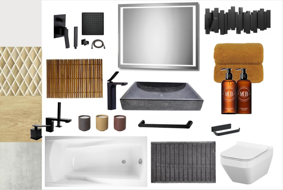 Łazienka z odcieniem drewna, szarości i czarnych dodatków