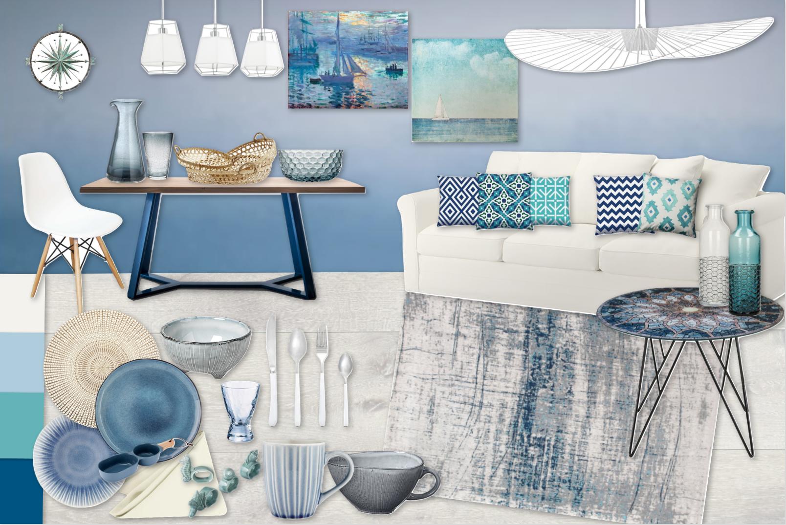 Marynistycznie  Wakacyjna odsłona wnętrza  w marynarskiej nucie. Dodatkowa zastawa  stołowa w odcieniach niebieskiego pozwala się cieszyć latem przez dłuższy czas.