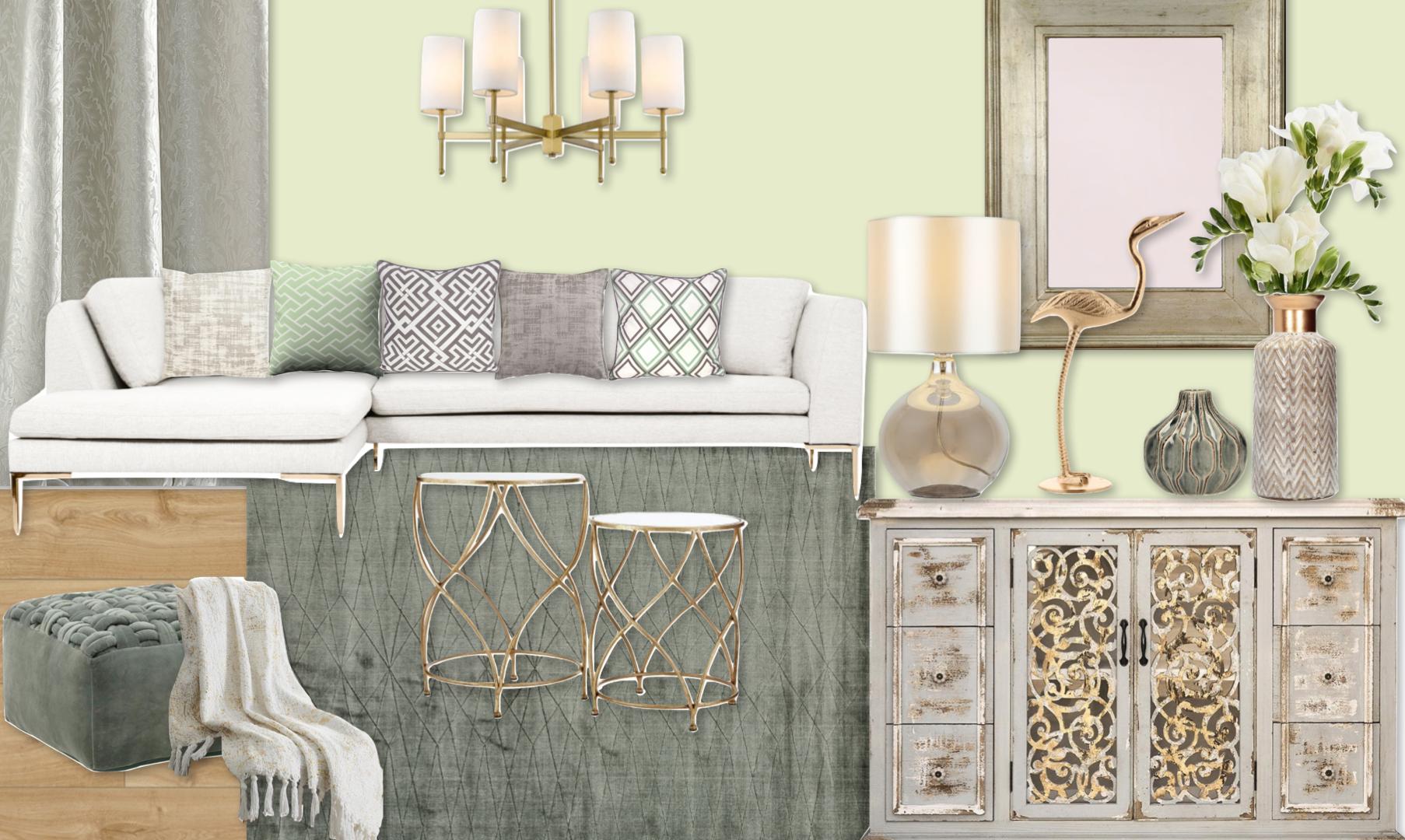 Włoska elegancja  Miekka zieleń otoczona w złote dodatki, antyczny buffet dolny jest pieknym umeblowaniem a jasna sofa z odpowiednimi wzorami poduszek bedzie eleganckim miejscem zarówno do odpoczyku jak i przyjmowania gości.