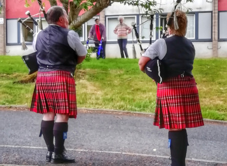 Local piper's brighten up day of Hazeldean residents.