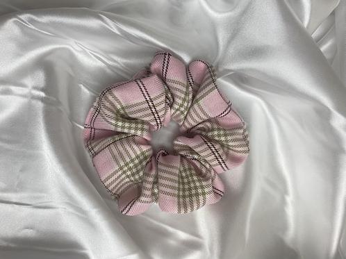 Light Pink Tartan Scrunchie