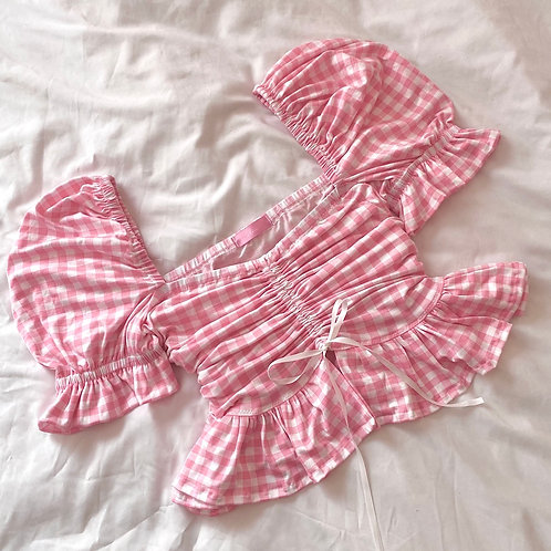 Barbie Gingham Ruched Top