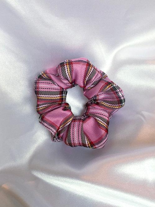 Medium Pink Check / Tartan Scrunchie
