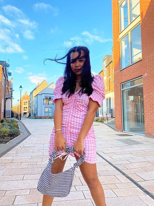 Barbie Gingham Ruched Dress