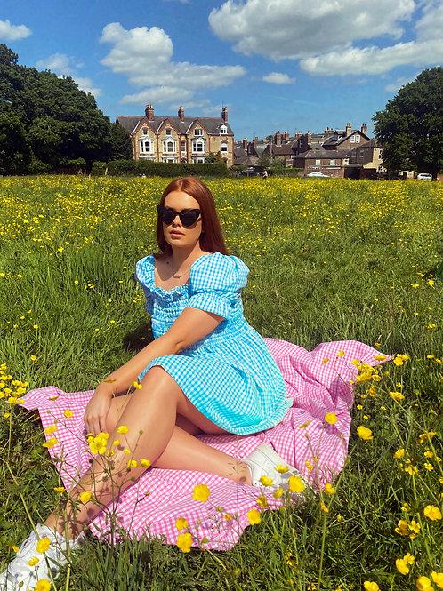 Isla Gingham Shirred Dress - Puff Sleeves
