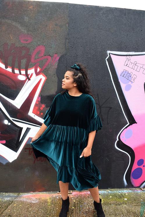 Lola Velvet Frill Smock Dress
