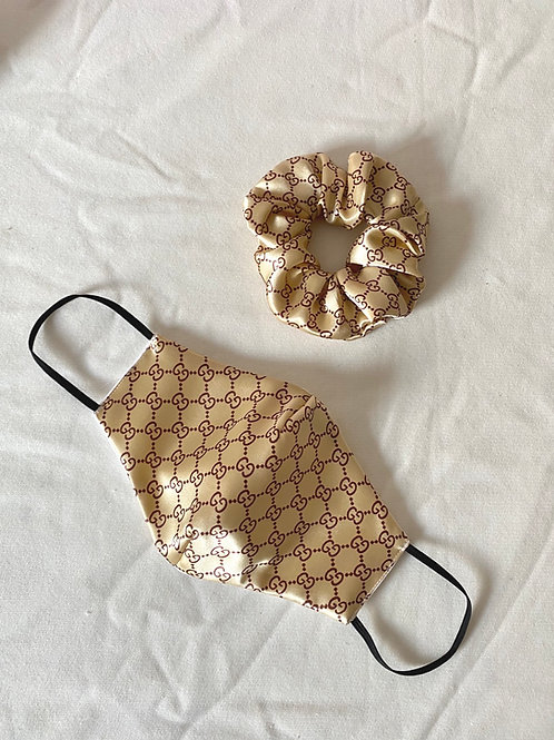 GG Inspired Face Covering Mask and Scrunchie Set