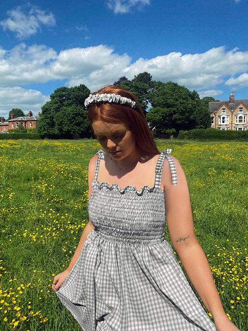 Elsie Gingham Shirred Dress - Bow Straps