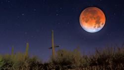 Super moon over the desert